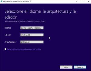 Cómo hacer ISO de Windows 10 con MediaCreationTool